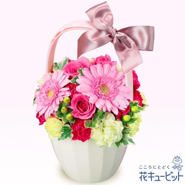 【お祝い】ピンクガーベラとバラのアレンジメントやさしいピンク色が感謝を伝えます