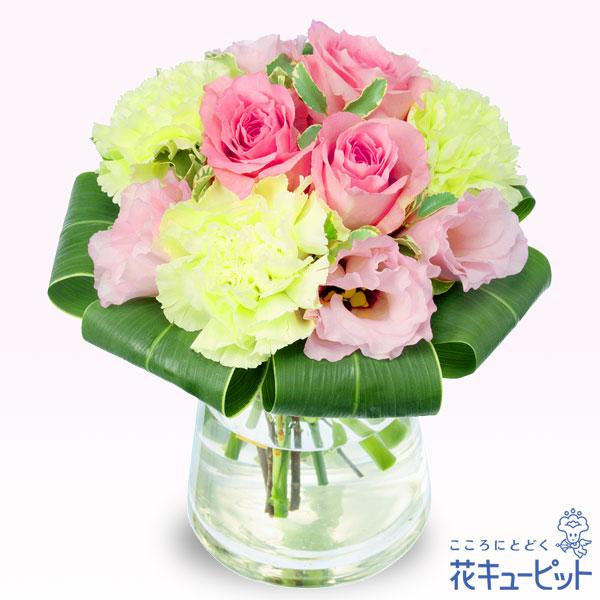 【誕生日フラワーギフト】ピンクバラのグラスブーケやわらかい色合いのグラスブーケ