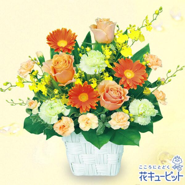 【ご退職祝い(法人)】オレンジバラのスクエアバスケット