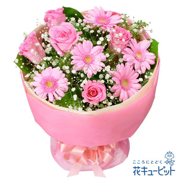 【お祝い】バラとガーベラのピンクブーケピンクのブーケでロマンチックに