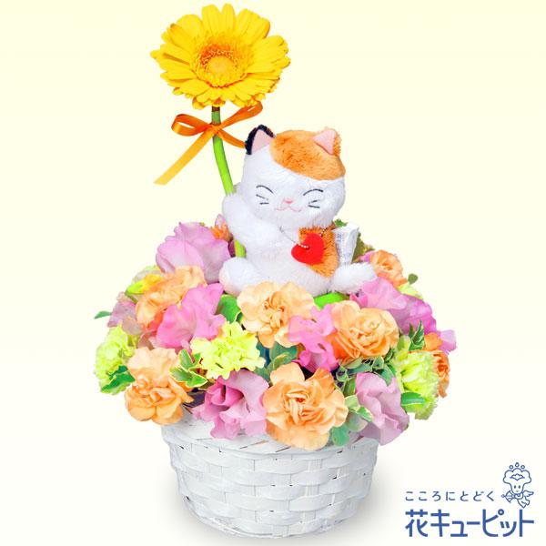 【お祝い】三毛猫のガーベラアレンジメント(イエロー)可愛らしい三毛猫がガーベラをプレゼント