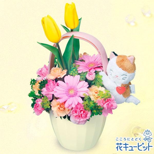 【春のお誕生日】三毛猫のチューリップアレンジメント(イエロー)カラフルな春色の花に三毛猫を添えて