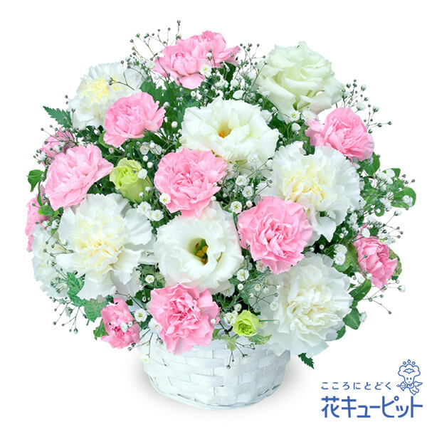 【ペット用フラワーギフト・お供え】お供えのアレンジメントあたたかみのあるピンクのお花をあわせました