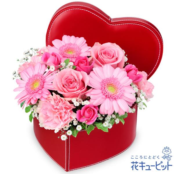 ピンクバラとガーベラのハートボックスアレンジメント