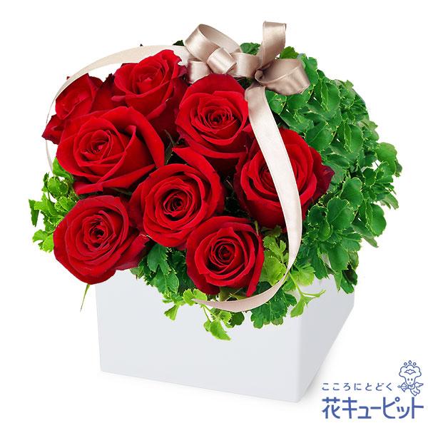 【誕生日バラ(法人)】赤バラのキューブアレンジメント