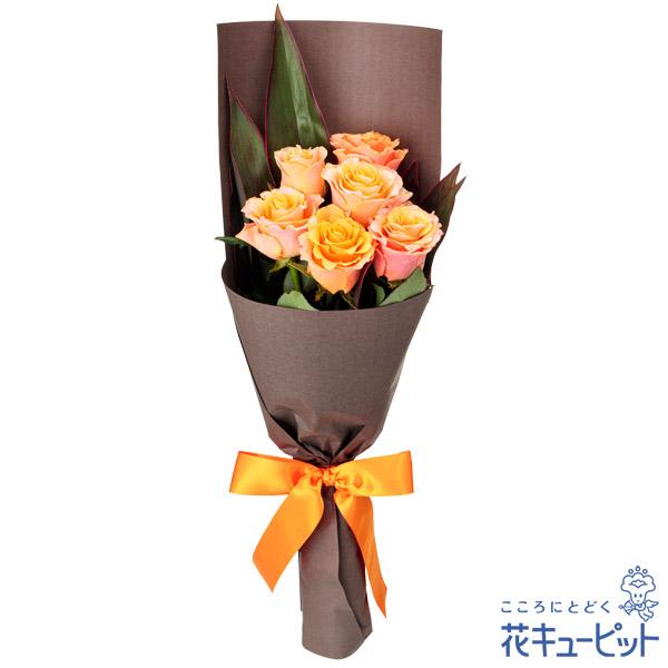 【お祝い】オレンジバラ6本の花束「絆」「信頼」の花言葉を持つオレンジバラを花束に