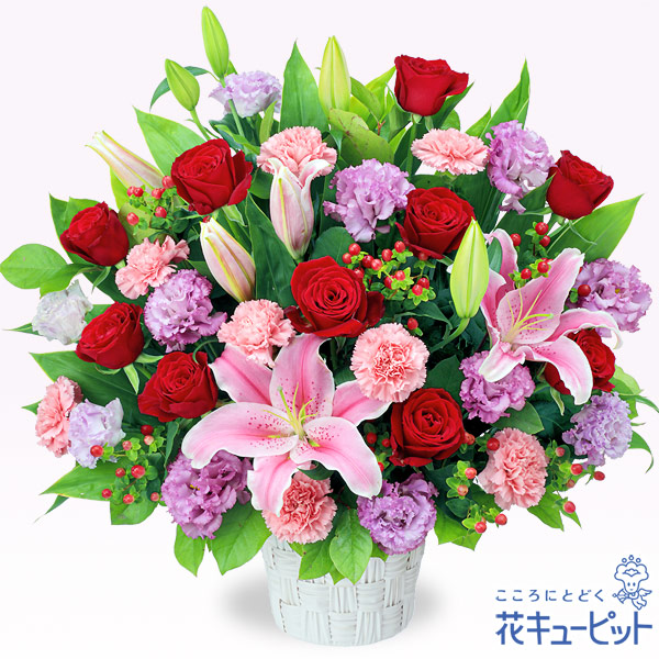 【アレンジメント(法人)】ピンクとレッドの華やかアレンジメント