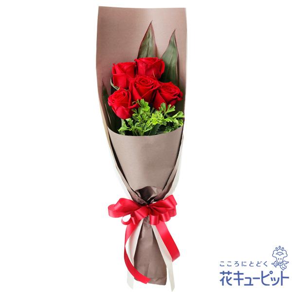 【誕生日バラ(法人)】赤バラ5本の花束