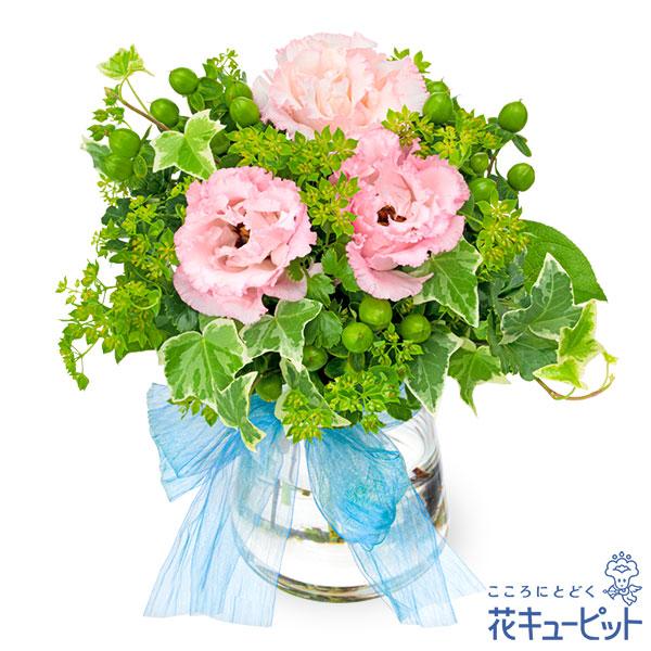 【お祝い】トルコキキョウとグリーンのグラスブーケグリーン×ピンクのナチュラルブーケ