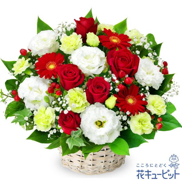 赤バラと赤ガーベラのアレンジメント