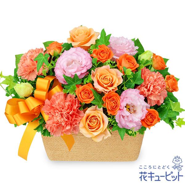 【お祝い】オレンジバラとトルコキキョウのバスケットぬくもりを感じるお祝いのアレンジメント