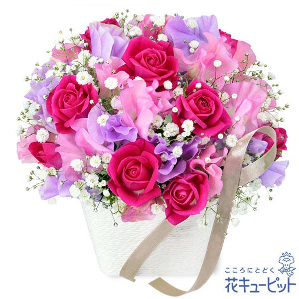 【お祝い】スイートピーのエレガントアレンジメント可憐で柔らかな花びらが大切な日を彩ります