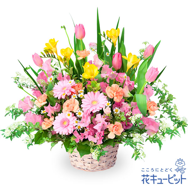 【誕生花 3月(ピンクガーベラ等)(法人)】春の花のミックスアレンジメント