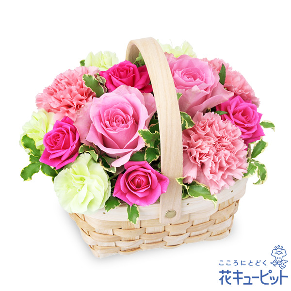 【誕生日バラ(法人)】ピンクのウッドバスケット
