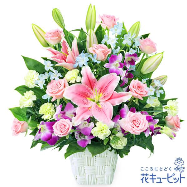 【お祝い】ピンクユリとデンファレの豪華なアレンジメント特別な日をより一層、華やかに彩ります