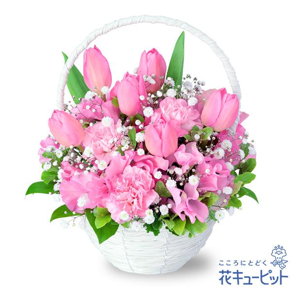 【春のお誕生日】ピンクチューリップのナチュラルバスケット多くのお花が咲き始める春に贈りたいアレンジメント