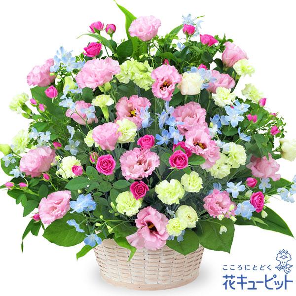 【お祝い】ピンクトルコキキョウの豪華なアレンジメント優しい色味のお花をたっぷり使いました