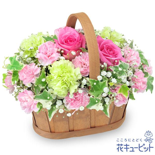 【目上の方に贈る誕生日フラワーギフト】ピンクバラのハーモニーバスケット優しい気持ちをたっぷり詰め込んでお届けします
