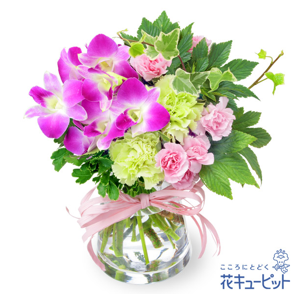 【誕生花 9月(デンファレ)(法人)】デンファレとグリーンのグラスブーケ