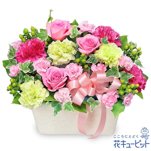 【お祝い】バラのピンクアレンジメント上品でかわいらしい贈り物