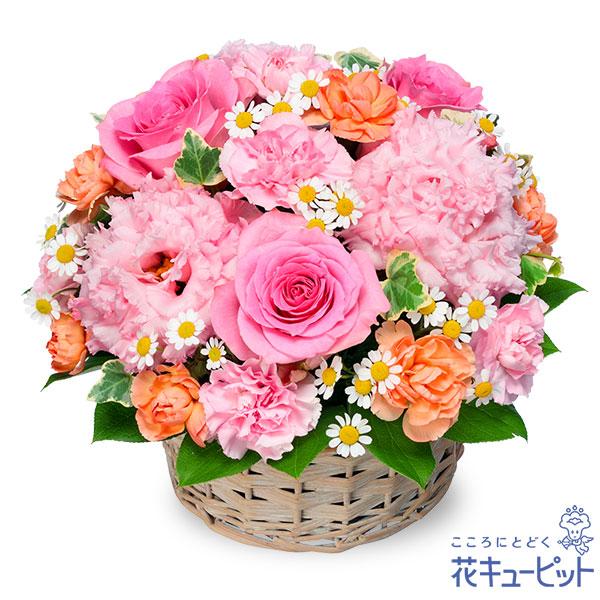 【お見舞い(法人)】ピンクバラのバスケットアレンジメント
