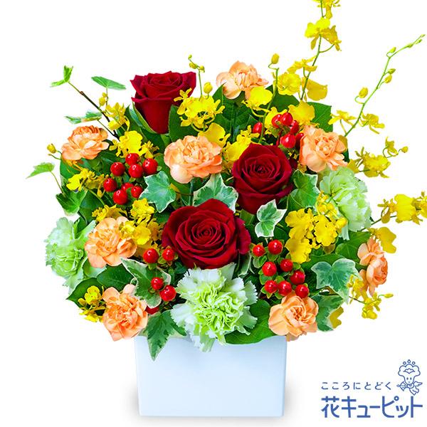 【接待のお返し(法人)】赤バラの華やかアレンジメント