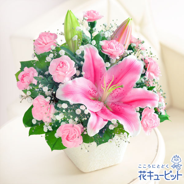 【母の日ギフト】ユリのバスケットお母さんの心を和らげる上品なユリの花