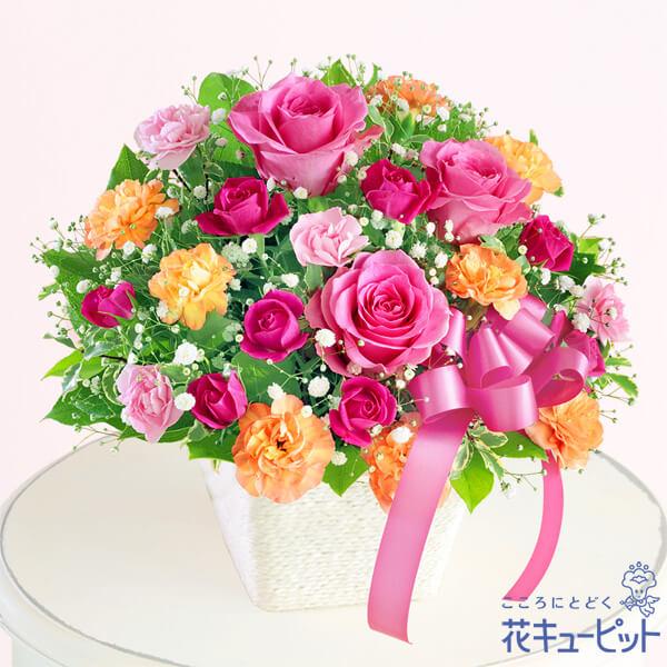 【母の日ギフト】ピンクリボンのアレンジメントピンクのリボンが想いをつなぐ母の日ギフト