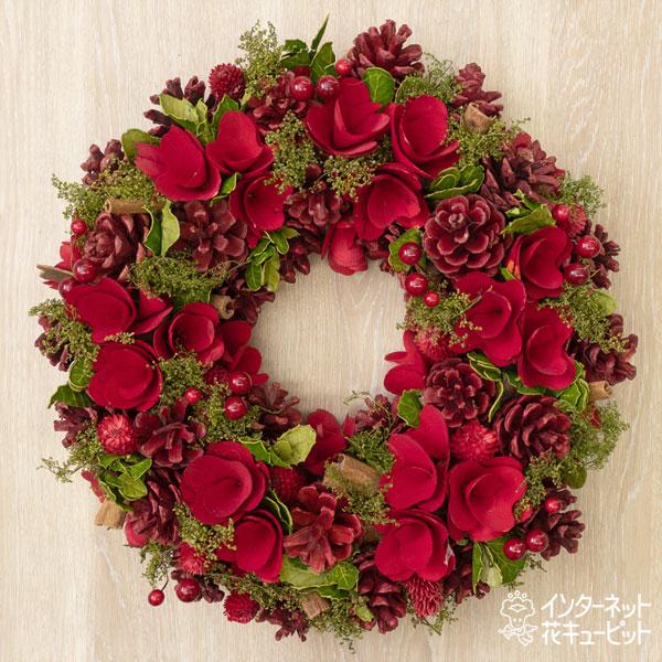 【ウィンター 産直ギフト】クリスマスリース レッド眠り&コーンMクリスマスに華やかさを添える真っ赤なリース