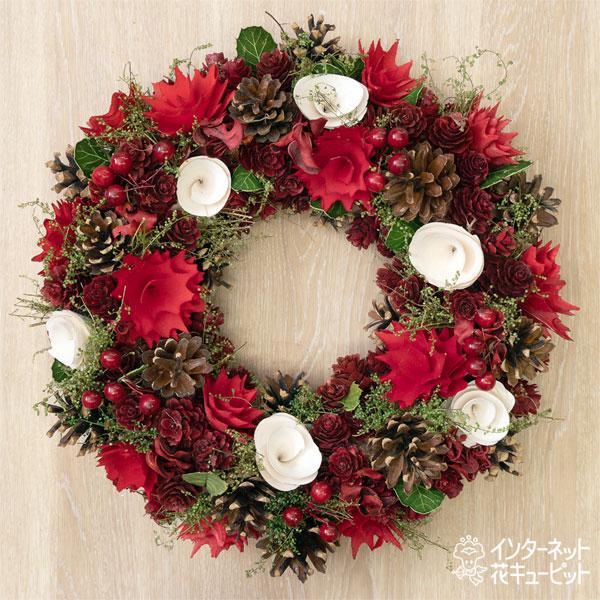 【ウィンター 産直ギフト】クリスマスリースレッド&ホワイト眠りコーンMクリスマス気分を盛り上げるクリスマスカラーのドライリース