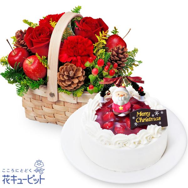 【クリスマス セット商品】赤バラのウッドバスケットと生クリームデコレーションケーキ子どもから大人まで愛される定番人気のクリスマスケーキ