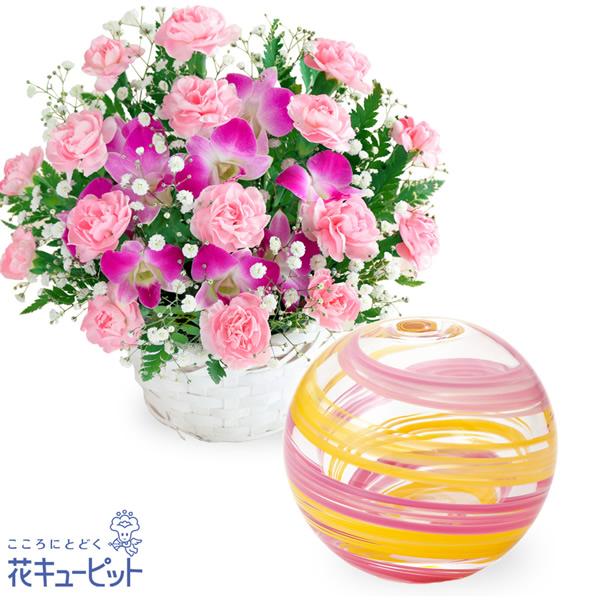 【母の日 ありがとうギフトセット】スイートと【津軽びいどろ】一輪挿し(桜風)津軽びいどろの透明感が美しいお花を引き立てる一輪挿し