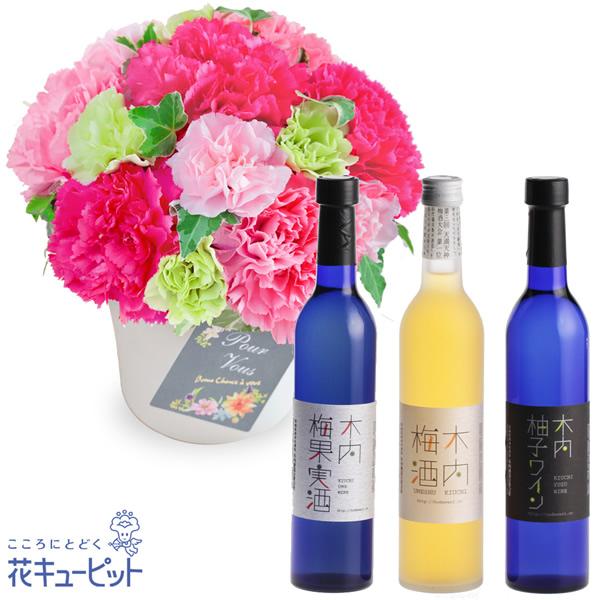 【母の日 スイーツ&グルメセット】グラマラス(ピンク)と木内梅酒・柚子ワイン・梅果実酒 3本セット女性に人気の梅酒と果実酒の詰め合わせ