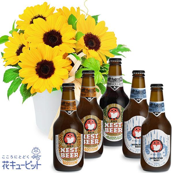 【お祝いセットギフト】ひまわりのナチュラルアレンジメントと常陸野ネストビール飲み比べ5本セット日本初のクラフトビール「常陸野ネストビール」を飲み比べ