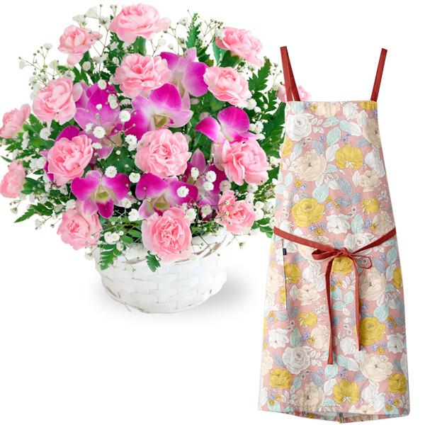 【母の日 ありがとうギフトセット】スイートとラップエプロン(花柄・ピンク)