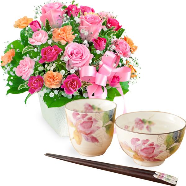 【母の日 ありがとうギフトセット】ピンクリボンのアレンジメントと飯碗湯呑セット ばらの香(天宝箸付き)