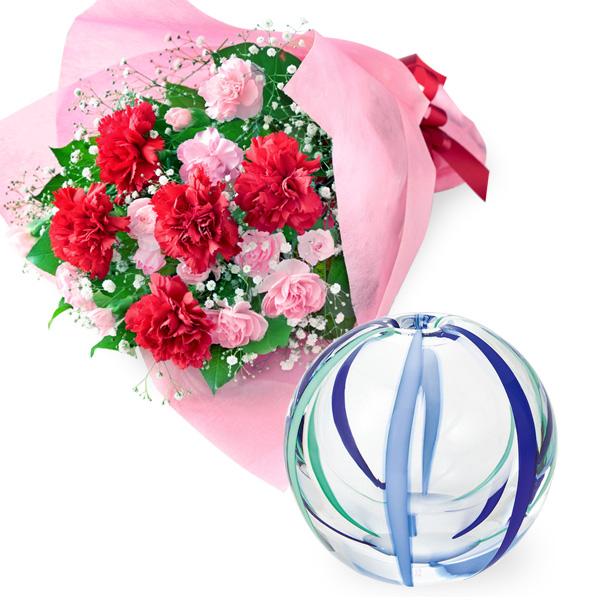 【母の日 ありがとうギフトセット】カーネーションの花束と【津軽びいどろ】一輪挿し(夏空)