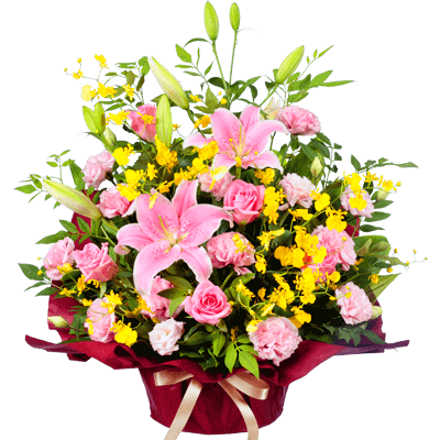 【開店祝い・開業祝い】ピンクユリの華やかアレンジメント