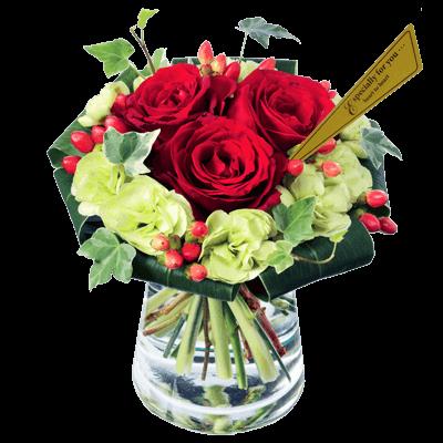 【愛妻の日】赤バラのグラスブーケ