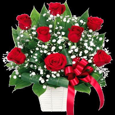 【誕生日フラワーギフト・バラ】赤バラのリボンアレンジメント
