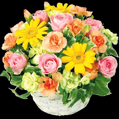 【誕生日フラワーギフト】イエローオレンジバスケット