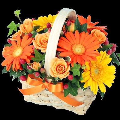 【11月の誕生花(ガーベラ等)】オレンジ&イエローのアレンジメント