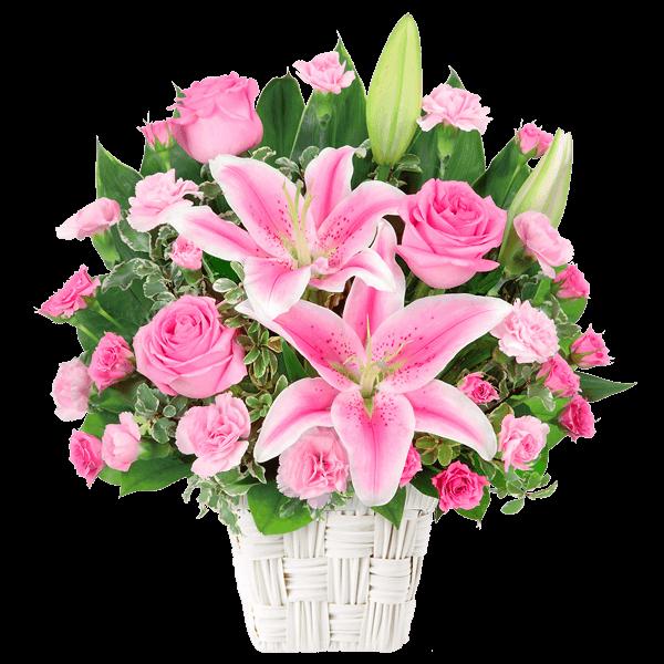 【誕生日フラワーギフト・ユリ】ユリとピンクバラのアレンジメント
