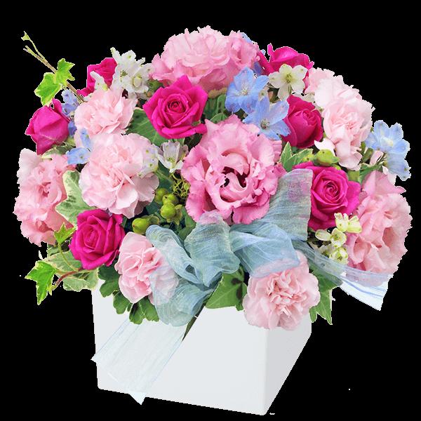 【8月の誕生花(トルコキキョウ等)】バラとトルコキキョウのキューブアレンジメント