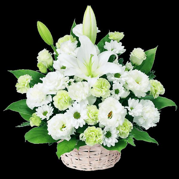 白でまとめたお花ピンクバラのギフト|花キューピットのお盆(新盆・初盆)おすすめギフト 2019