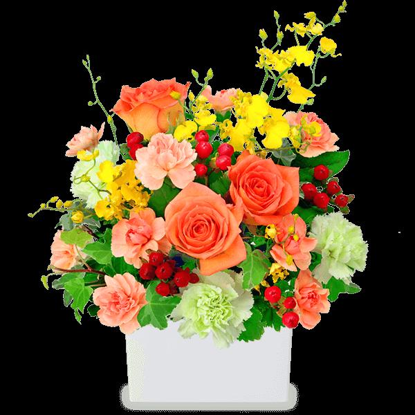【アレンジメント】オレンジバラの華やかアレンジメント