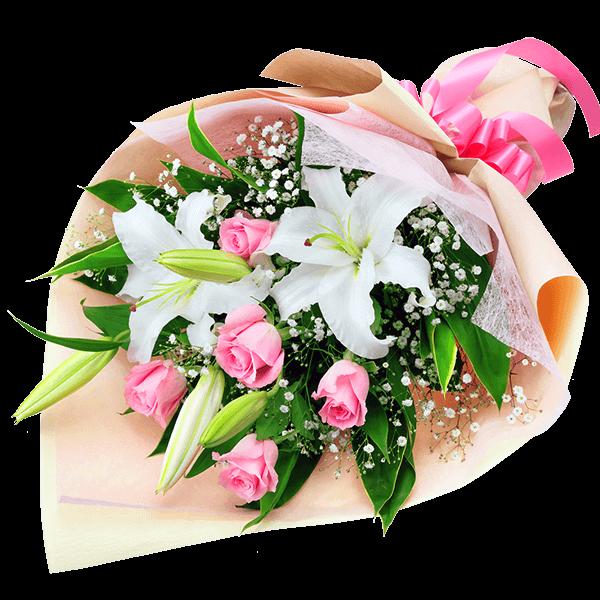 【退職祝い】ユリとピンクバラの花束
