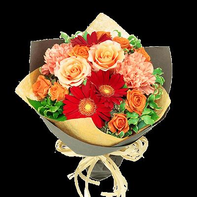 【退職祝い】オレンジバラと赤ガーベラのナチュラルブーケ