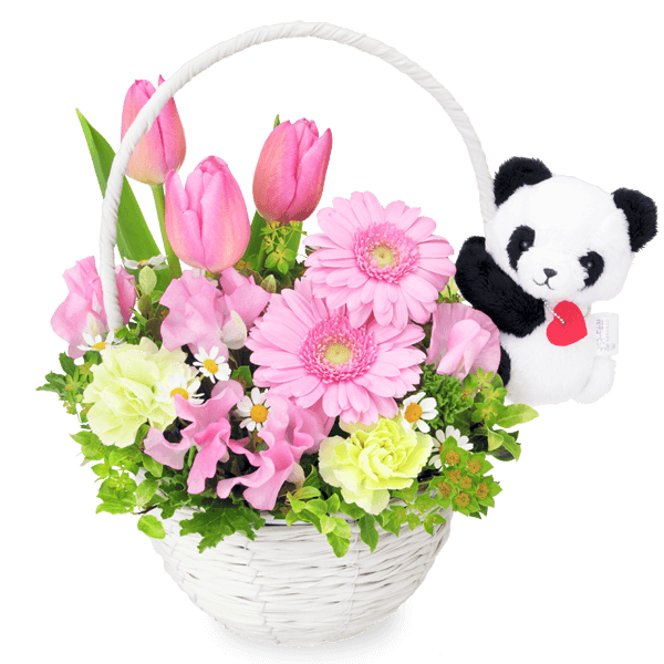 マスコット付き<br>フラワーギフト マスコット付き<br>フラワーギフト 可愛い動物がにっこり|花キューピットのひな祭り特集 2020