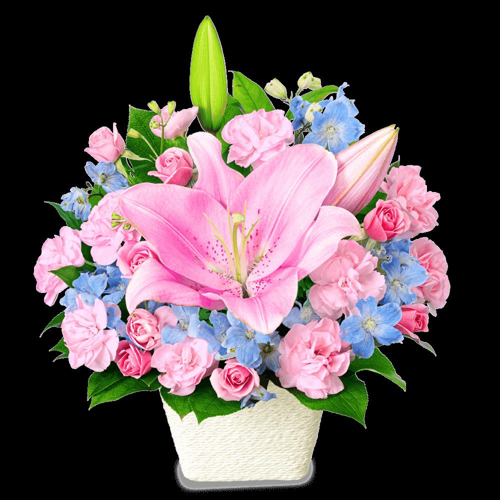 【6月の誕生花(ユリ)】ピンクユリのパステルアレンジメント